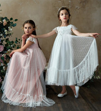 Lace Girl Flower Wedding Prom Gown Children Long Trained Evening Dress Little Lady Girls Events Party Wear Kids Clothes G507