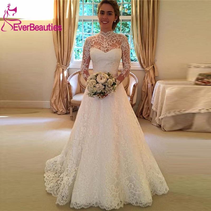 Robes De mariée Vestido De Noiva Boho 2019 manches longues Tulle avec dentelle robes De mariée plage Robe Mariage Gelinlik