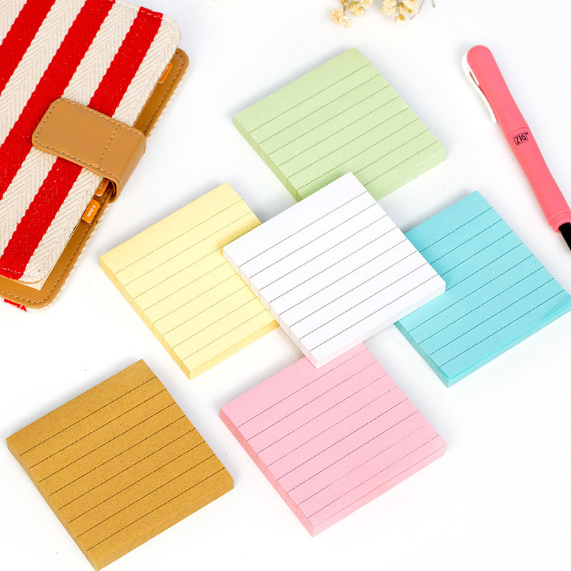Cute Kawaii Colorful Memo Pad Post It Note Kraft Paper Sticker With Lined For Kids School Supplies Student 3825 new index paper sticker for notebook note cute sticky note post it memo pad for school
