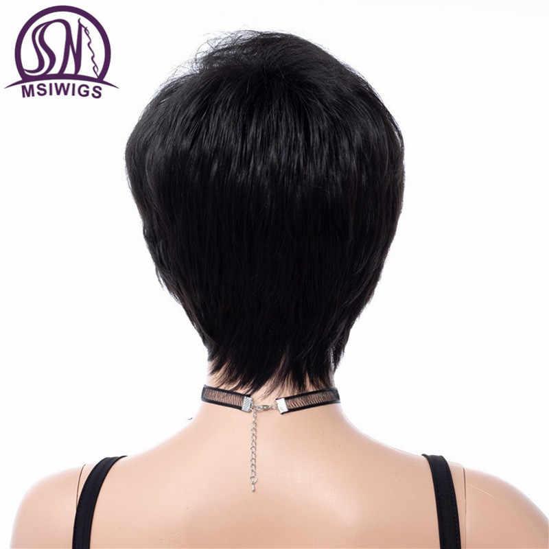 MSIWIGS короткие женские парики в черном кудрявые прямые синтетические волосы парик с боковой челкой без клея 8 дюймов Натуральные волосы термостойкие