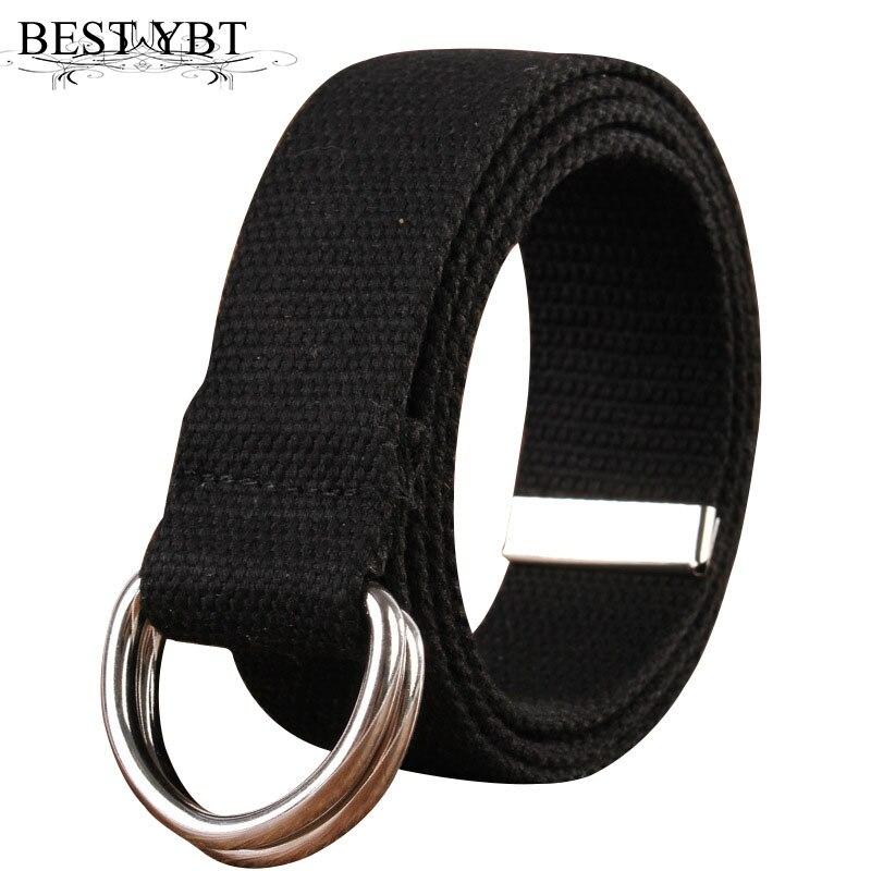 Best YBT Unisex canvas   belt   Double ring buckle Alloy   belt   18 solid colors men   belt   casual outdoor sport fashion men cansvas   belt