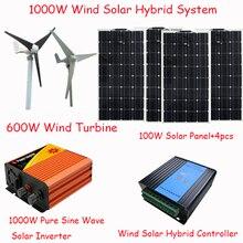 Солнечная панель 1000 Вт/600 Вт Ветряная Турбина/Гибкая солнечная панель 400 Вт/1000 Вт чистый синусоидальный инвертор/600 Вт ветряной солнечный гибридный контроллер