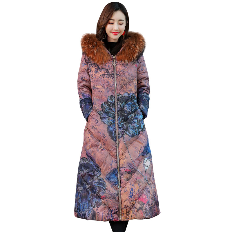 Winter Jacket Women Thick Warm Coats Female Printing Flower Down Jackets Cotton Parkas Women Long Hooded