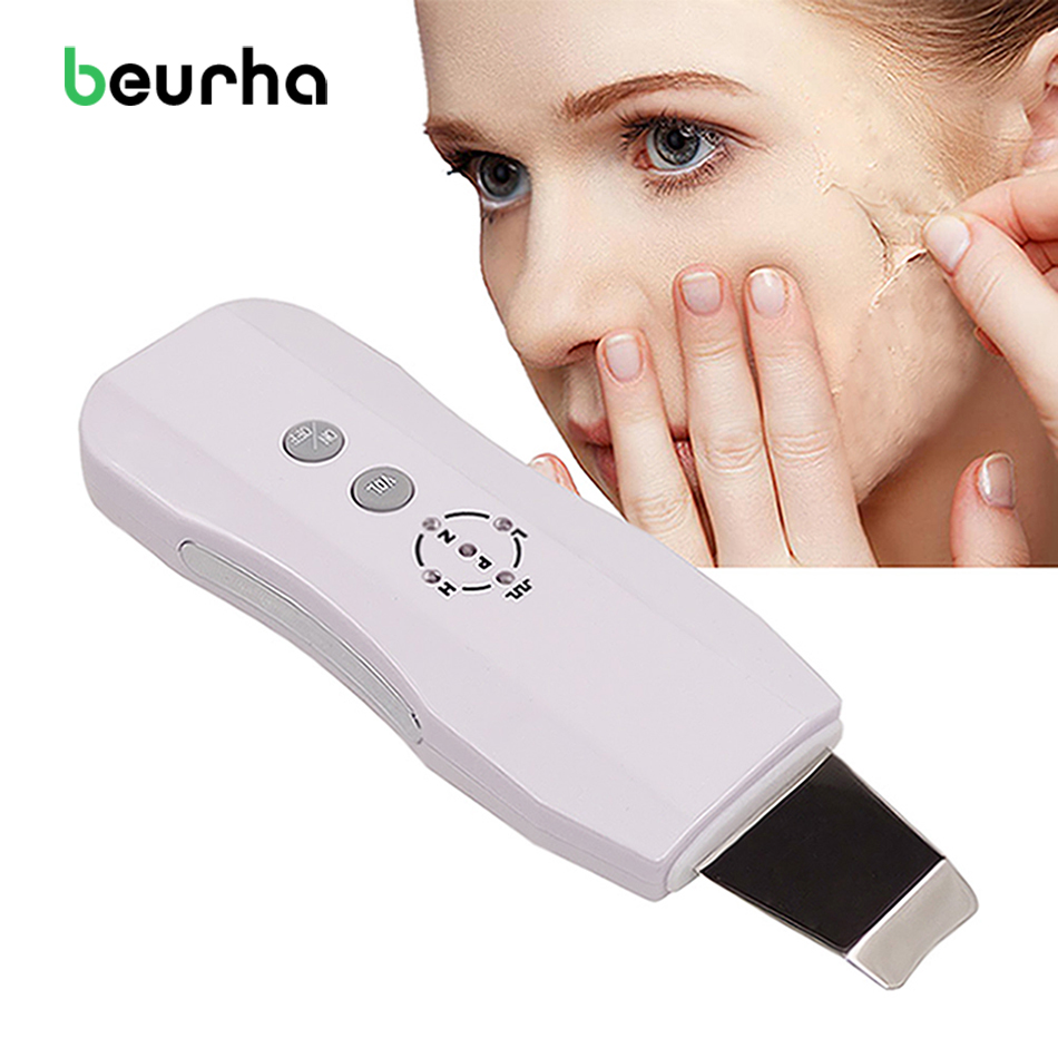Beurha Face Ultrasonic Pore Cleaner Ultrasound Therapy Skin Scrubber Deep Cleaning Facial Lifting Therapy For SPA Face Skin Care portable ultrasonic facial cleaner ultrasound face tool pore deep cleaning skin care peeling spa beauty scrubber acne removal