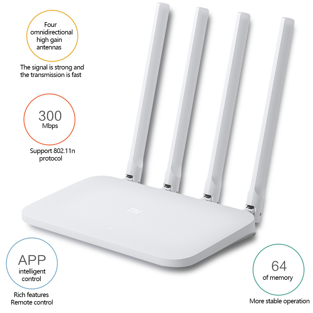 Original Xiaomi Mi Wifi Router 4c 4 Antennas Smart App Control 64 Ram 80211 B G N 24g 300mbps Band Wireless Routers Repeater In From