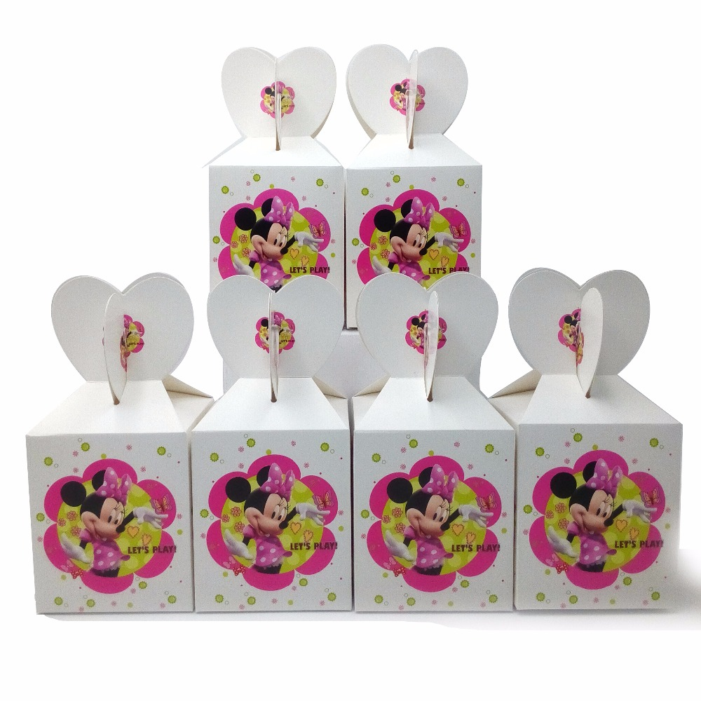 6pcs set minnie mouse party supplies paper candy box for Baby minnie mouse party decoration