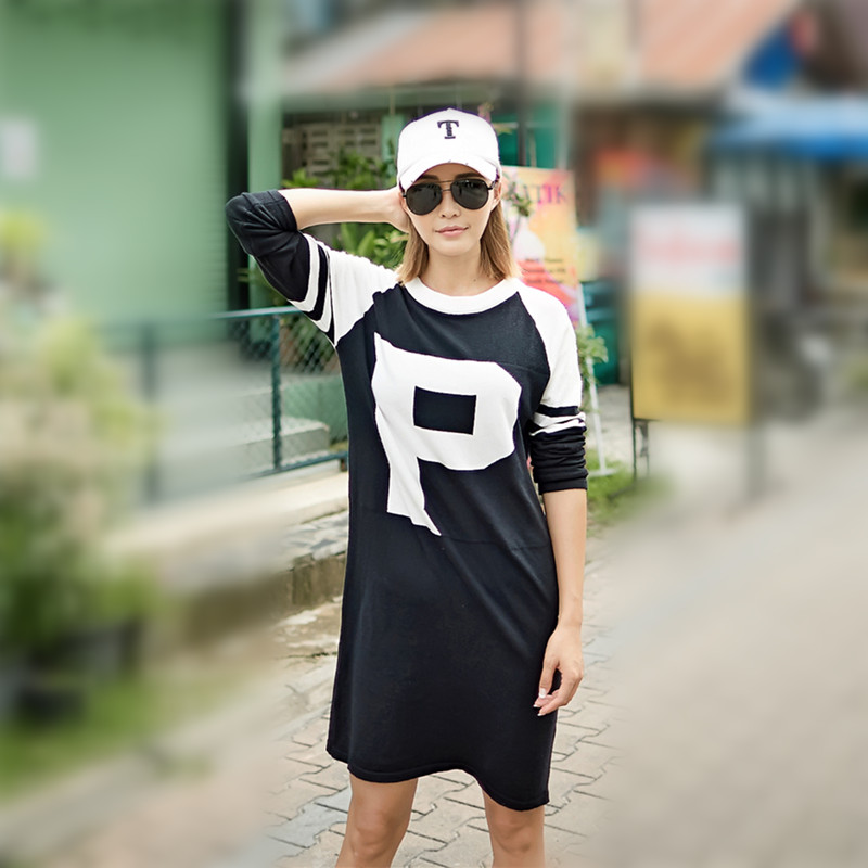 Just.be.never Hip Hop Autumn Women Dress Plus Size Vintage Big Yards Long Sleeves Loose Letter Black Green Street Style Free