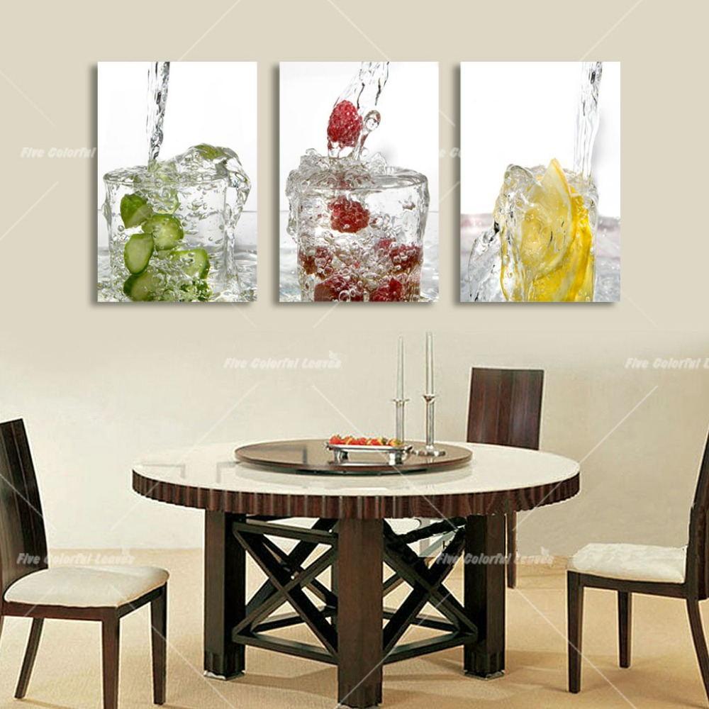 3 Panel Canvas Art Water Fruits Kitchen Canvas Painting
