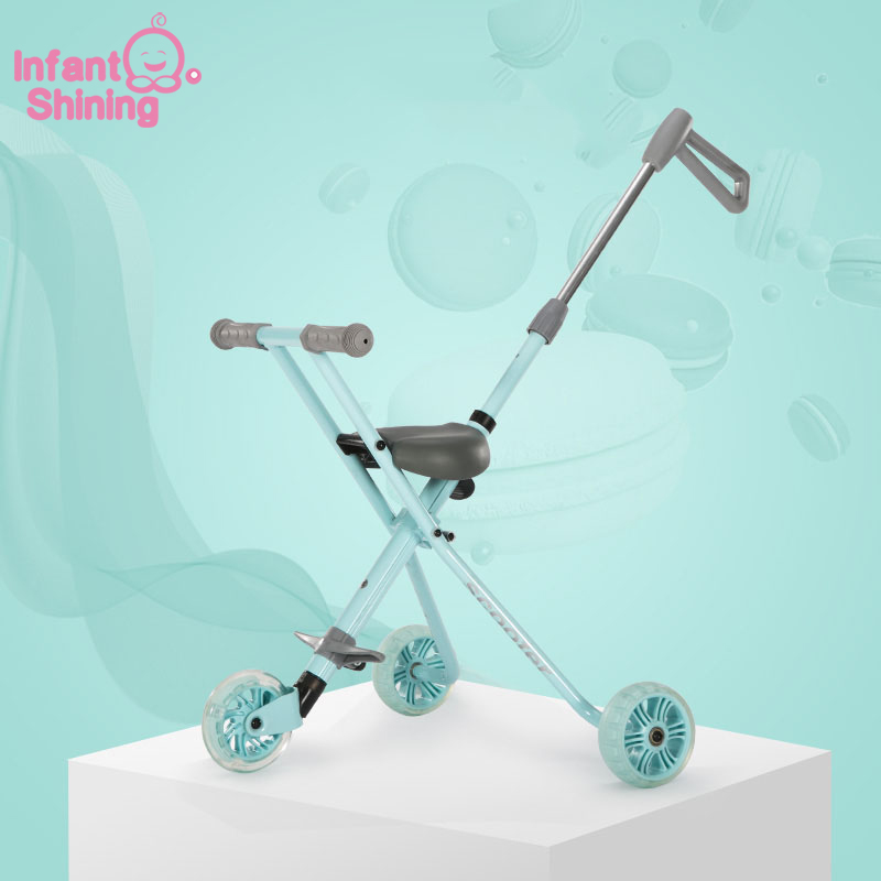 Infant Shining Children Tricycle Aluminum Alloy Simple Light Folding Stroller Quick Folding