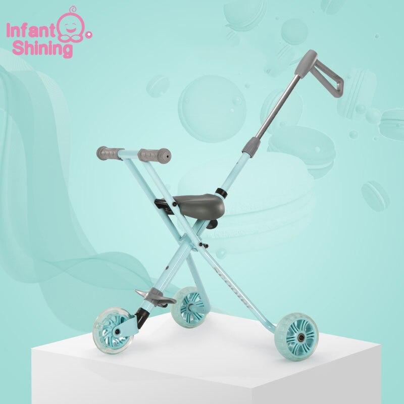 Nourrisson brillant enfants Tricycle en alliage d'aluminium Simple lumière pliante poussette pliage rapide-in Voitures électriques pour enfants from Jeux et loisirs    1