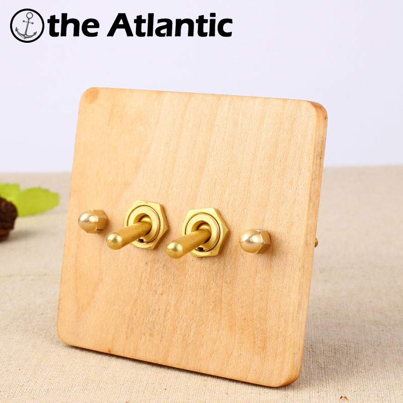 NEW Universal Standard 2017 Hand Made European Retro Switch 10A 110V-250V Wood Panel Brass Lever 1 Gang 1/2 Way Wall SwitchNEW Universal Standard 2017 Hand Made European Retro Switch 10A 110V-250V Wood Panel Brass Lever 1 Gang 1/2 Way Wall Switch