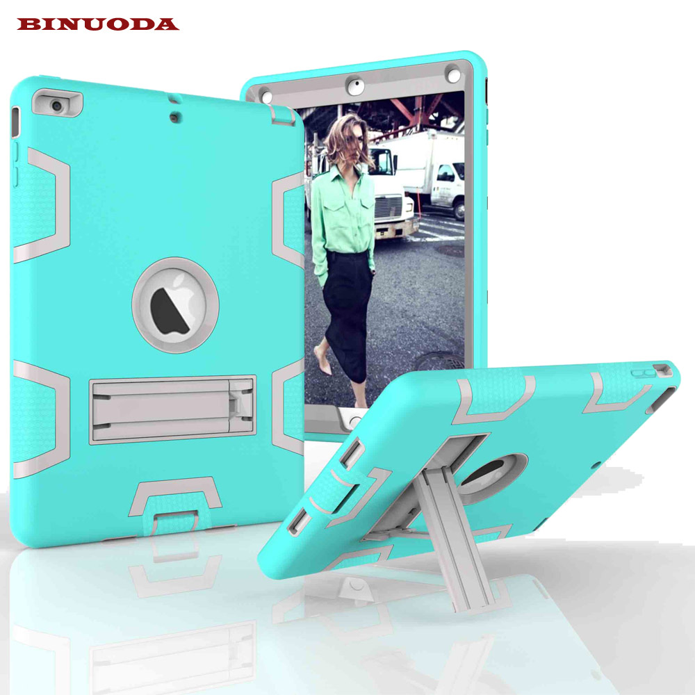 For Funda iPad Air Case Hybrid Rugged Rubber Hard Plastic+Silicone High Impact Kids Shockproof Case Cover for iPad 5 iPad Air rubber coating hybrid plastic silicone cover for iphone se 5s 5 cyan grey