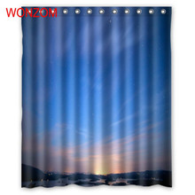 WONZOM Beautiful Landscape Shower Curtains with 12 Hooks For Bathroom Decor Modern 3D Polyester Fabric Bath Waterproof Curtain