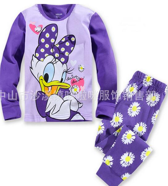 Cotton Pajamas Children long sleeves kids sets clothes for girl baby underwear cartoon sleep pants cheap and free delivery P108