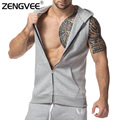 Men Hoodies 2017 Mens Jackets Sleeveless Men Zipper Jactet Clothing For Bodybuilding Casual Sweatshirt