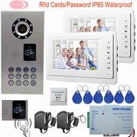 7 Inch Monitor Color Video Door Phone 2 Monitors Intercom System Rfid Cards Night Vision IP65
