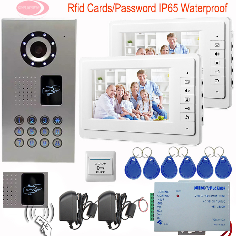 7 inch Monitor Color Video Door Phone 2 Monitors Intercom System Rfid Cards font b Night