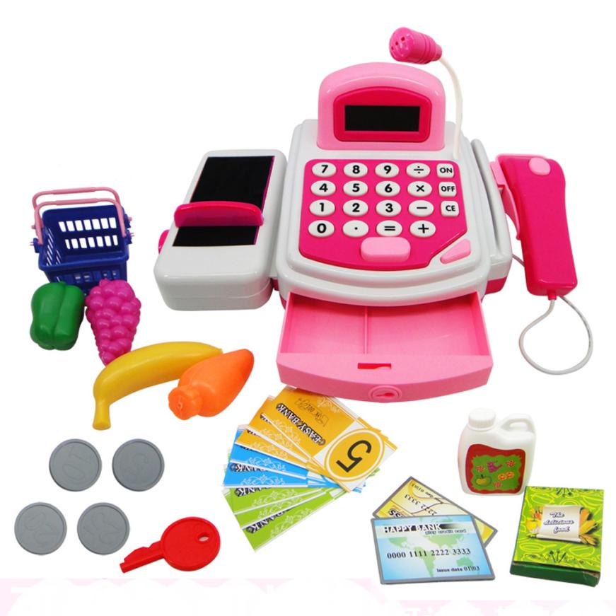 HOT Pretend Play Electronic Cash Register Toy Realistic Actions & Sounds With Mic RD AUG 30