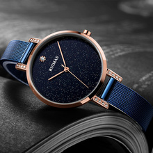 Ruimas Luxury Rose Gold Women Watches Minimalism Starry sky Magnet Buckle Fashion Casual Female Wristwatch for Lady