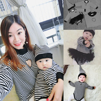 New Matching Family Clothes 2017 Family Look Striped Family Matching Outfits T Shirt Long Sleeve Cotton