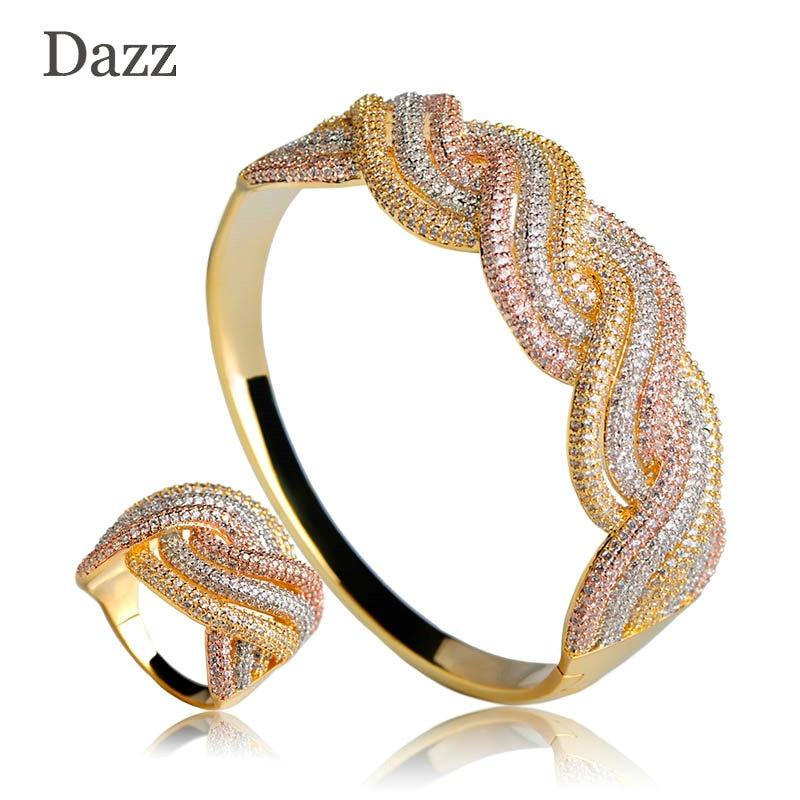 Dazz Wedding Party Jewelry Sets Luxury Copper Rhinestones Twist Shape Wide Bangle Ring Set Three Tones