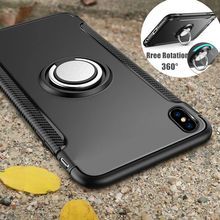 Finger Ring Holder Armor Case For iPhone 8 7 6 6S Plus Car Kickstand Hybrid Rubber Shockproof Phone Cover for iphone X S XS 5 5S mercury goospery i jelly finger ring kickstand tpu shell for iphone 7 plus 5 5 red