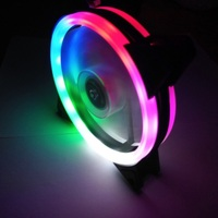 ir led Multicolored LED Computer Case Colorful 120mm Double Aperture PC Cooling Fan RGB Adjust Quiet + IR Remote Cooler Fans For CPU (4)