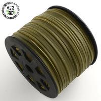 100 yardas (92 m)/rollo 3mm x 1mm Flat Faux Suede Cuerdas de cuero de encaje Coreano de rosca cuerda Cuerda diy finding