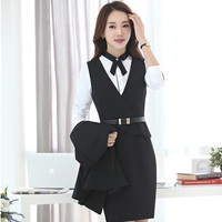 Autumn Winter Slim Fashion Professional Business Women Work Suits With Blouses And Dress For Ladies Office