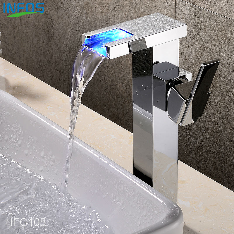INFOS LED Wash Basin Faucet Waterfall Bathroom Brass Sink Mixer Single Handle Hot and Cold Water Tap Torneira Banheiro IFC105 beelee bl8121 cold hot water copper basin faucet for bathroom single handle sink wash basin tap water tap free shipping