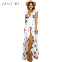 ZADORIN 2017 Plus Size Long Summer Beach Dress Women Sexy Deep V Floral Chiffon Maxi Dress