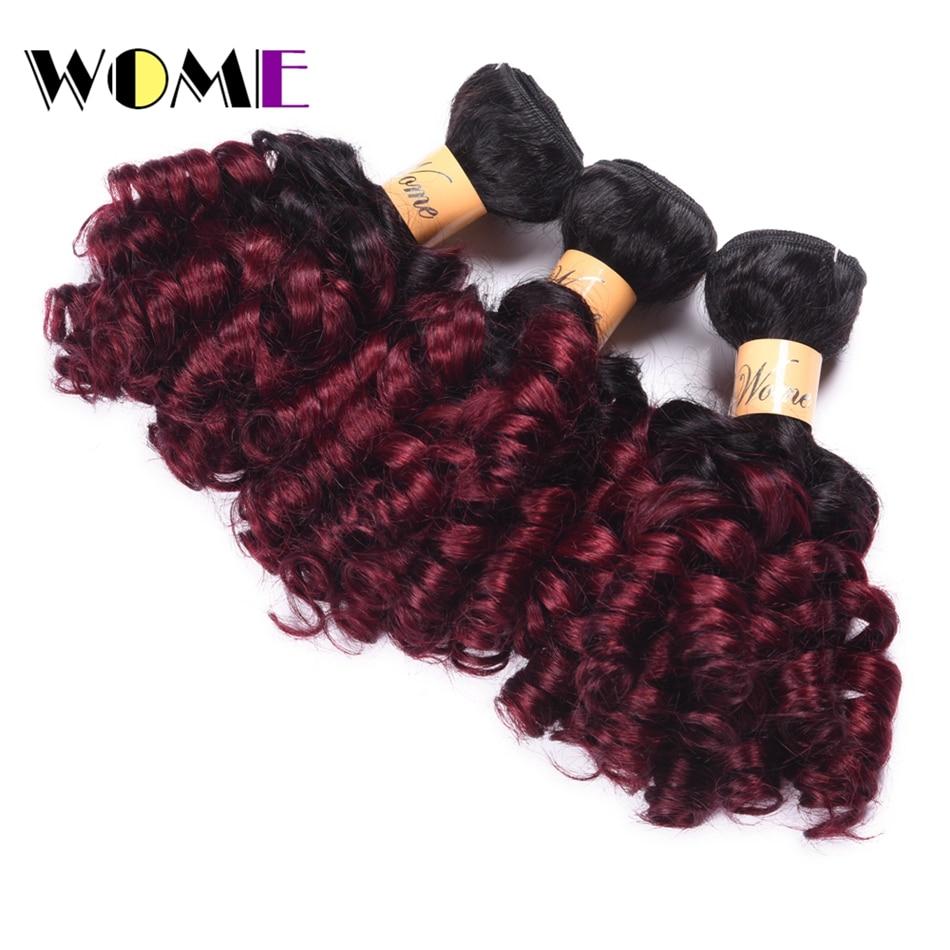 Wome Pre-colored Indian Bouncy Curly Hair Bundles 3Pcs 100% Human Hair Weave #1b/Burgundy 10