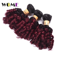 Wome Pre colored Indian Bouncy Curly Hair Bundles 3Pcs 100% Human Hair Weave #1b/Burgundy 10 24 Non Remy Hair Extensions