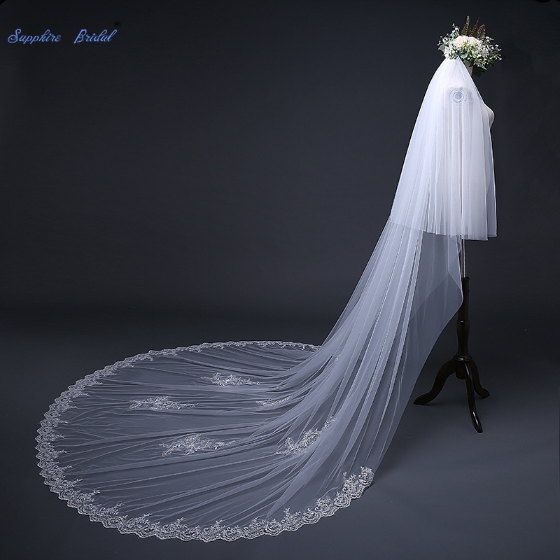 Sapphire Bridal Sequin Lace Edge Soft Tull 3m Long Tail Wedding Veil with Blusher 80cm Ivory Velo De Novia Bride Veil with Comb