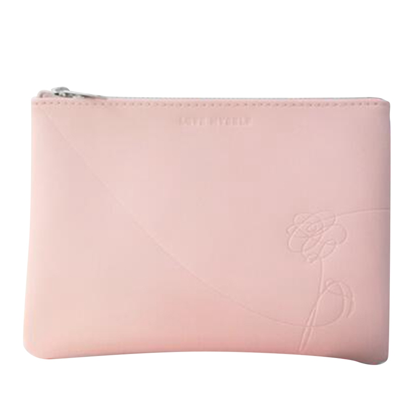 Fashion 2019 Pink Cotton Canvas Cosmetic Bag Travel Toiletry Makeup Zipper Pouch Bag