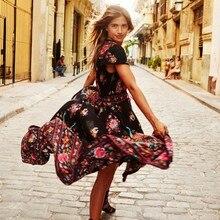 Vintage Bayanlar Yaz Elbise Uzun Maxi Akşam Parti Plaj Baskı Şifon Elbise V Yaka Boho vestido