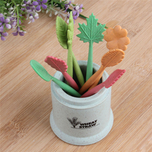 Green Biodegradable Wheat Straw Leaves Fruit Fork Set Party Cake Salad Vegetable Forks Picks Table Decor Tools Party Supplies T2