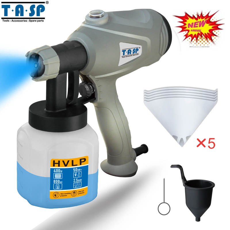 TASP 220V 400W Electric Paint Spray Gun HVLP Sprayer For Painting with Adjustable Flow Control and 3m Cable