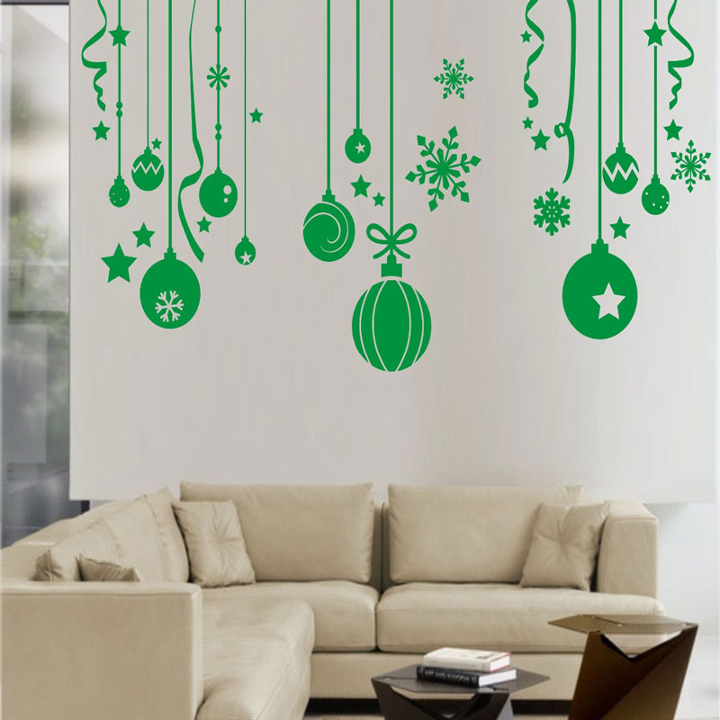 Free Shipping Christmas Ball Wall Stickers Snowflake Bells Hanging Chain Wall  Decals Glass Sticker Home U0026 Garden Window Sticker In Wall Stickers From  Home ...