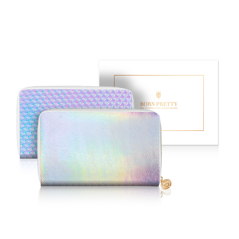 BORN PRETTY Mermaid Holo Snakeskin Stamping Plate Colletion Holder Smiling Face Yellow Nail Art Plate Organizer 72 24 Slots