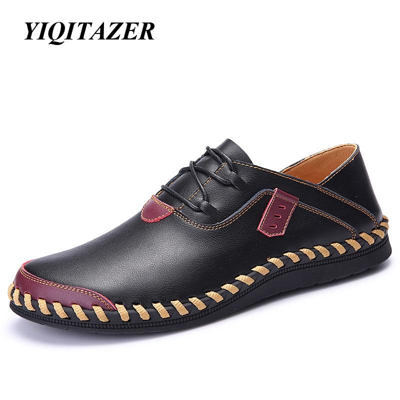 150b9d62b Yiqitazer 2018 ربيع الموضة الجديدة الرجل الأحذية الجلدية عارضة ، باطن  المطاط نوعية الجلود الشقق أحذية رجالي قارب الأسود براون
