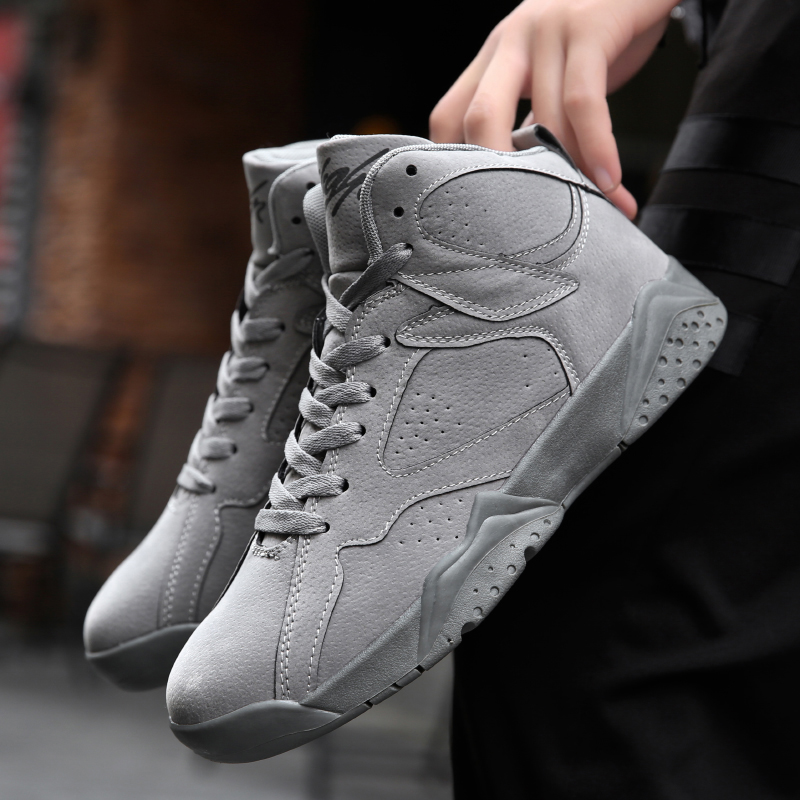 7f244582d7bed5 Autumn and Winter Jordan 7 High Shoes Men s Basketball Shoes Sneakers Man  Antiskid Jordan AJ 7 Rosso Corsa Crack Flights Speed-in Basketball Shoes  from ...