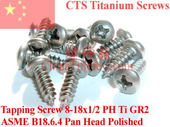 Titanium screws 8x1/2 Pan Head Self Tapping Polished 50 pcs Ti GR2