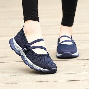 Image 5 - STQ 2020 קיץ נשים שטוח פלטפורמת נעלי נשים לנשימה מזדמנים סניקרס נעליים להחליק על שטוח של נעלי נשים 929
