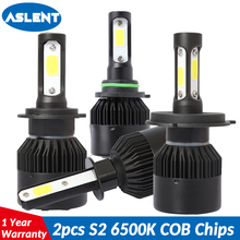 цена на ASLENT 2PCS 60W 8400lm H4 High low Car LED H7 H11 H8 H9 H1 H3 HB4 HB3 9005 9006 9012 Headlight Bulbs 6500K Light Source 12V