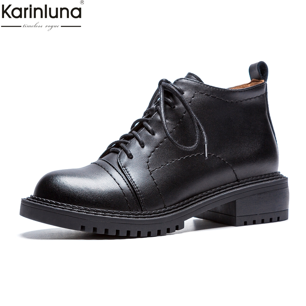 Karinluna brand new dropship natuarl cow leather western Boots Women Shoes Woman chunky heel fashion Oxford shoes Woman BootiesKarinluna brand new dropship natuarl cow leather western Boots Women Shoes Woman chunky heel fashion Oxford shoes Woman Booties