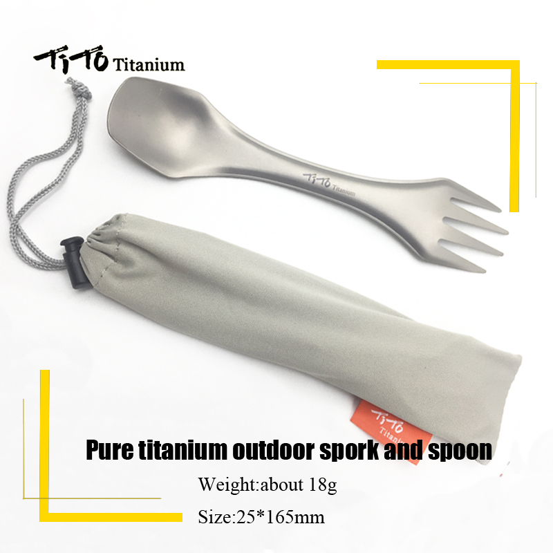 TiTo titanium spork camping fork spoon knife combo escursionismo - Camping ed escursionismo