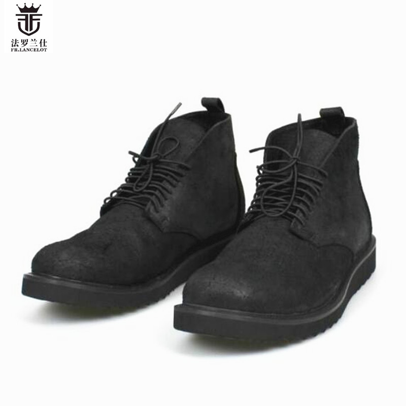2018 FR.LANCELOT Brand men new design lace up boots genuine leather short chelsea boots round toe winter luxury shoes men 2018 fr lancelot new design winter men ankle boots genuine leather men short boots luxury brand men black men high chelsea boots