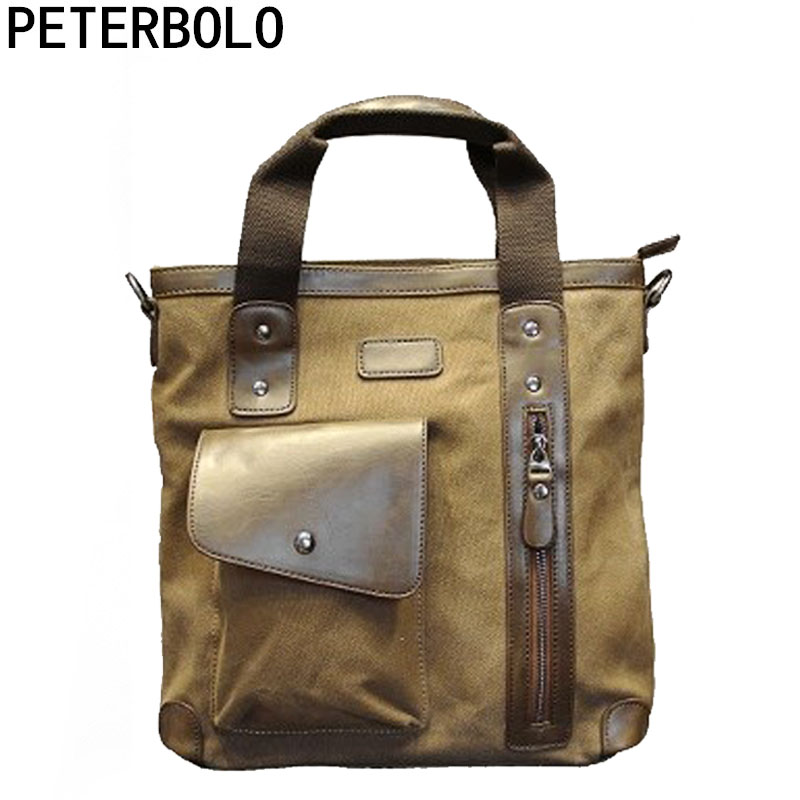Peterbolo Men Vintage Canvas Totes Male High Capacity Handbag for Business Casual Daily Crossbody Bag All-match Sacoche Homme casual canvas satchel men sling bag