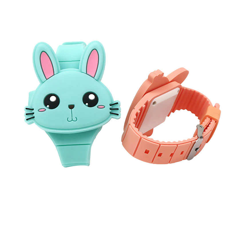 Droppshiping 1 Pcs Kids LED Elektronik Watch Silikon Band Kartun Kelinci Flip Case Jam Tangan Hadiah Yang Indah Dg88